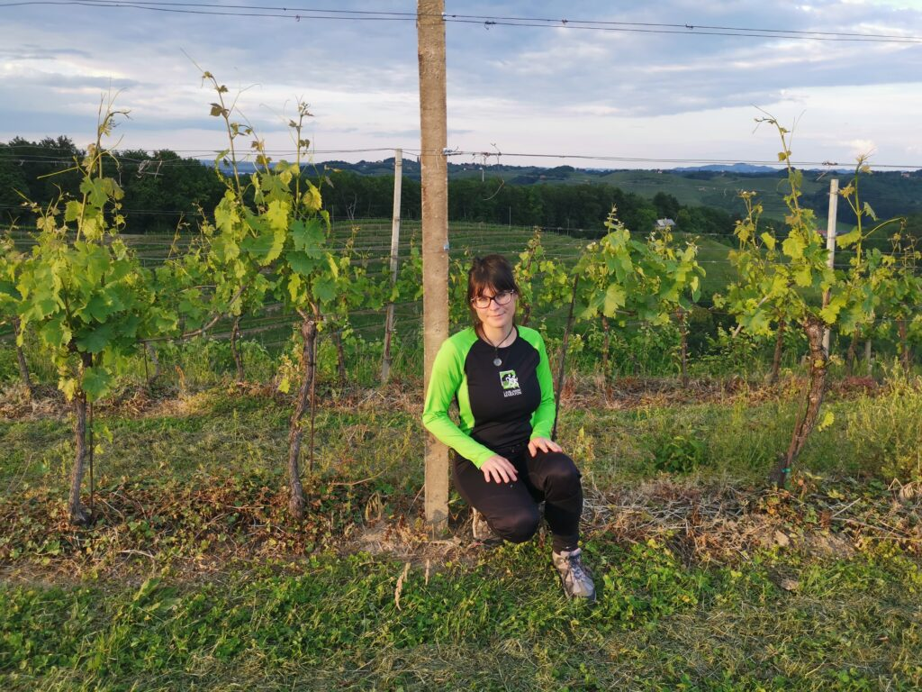 Young girl wearing green jogging clothes in the vineyards